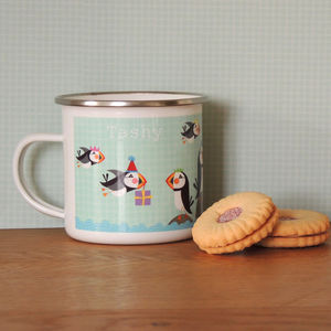 Puffin Personalised Enamel Mug