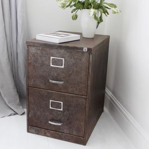Blake Vintage Industrial Two Drawer Filing Cabinet - bedside tables