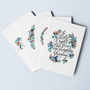 Set Of Eight Calligraphy Christmas Cards
