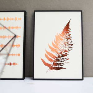 Metallic Fern Leaf Botanic Print - gifts for her sale