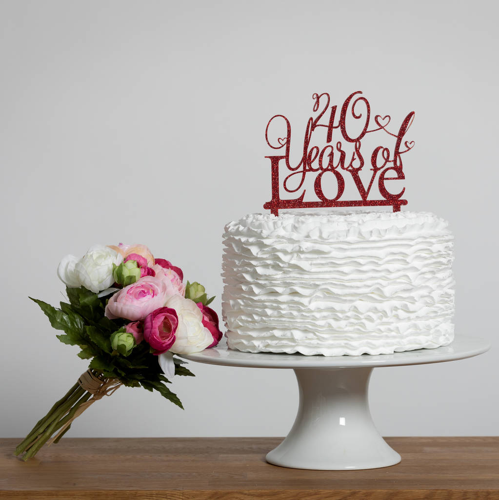 40 years of love 40th anniversary cake topper by funky for Anniversary cake decoration