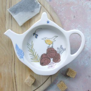 Bone China Teabag Tidy Songthrush Design - kitchen