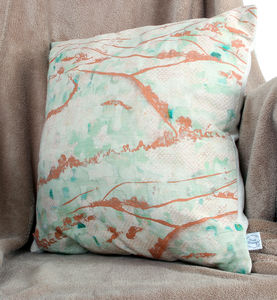 The Downs Watercolour Natural Linen Cushion - bedroom