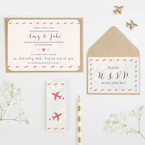 Travel Map And Airplane Wedding Invitation Bundle