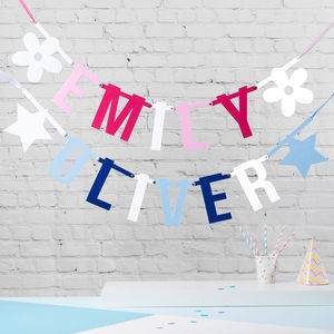 Pinks And Blues Letter Bunting - baby's room