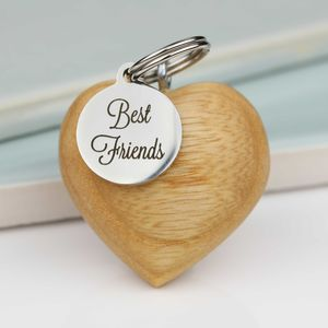 Handmade Wooden Heart Best Friends Keyring - keyrings
