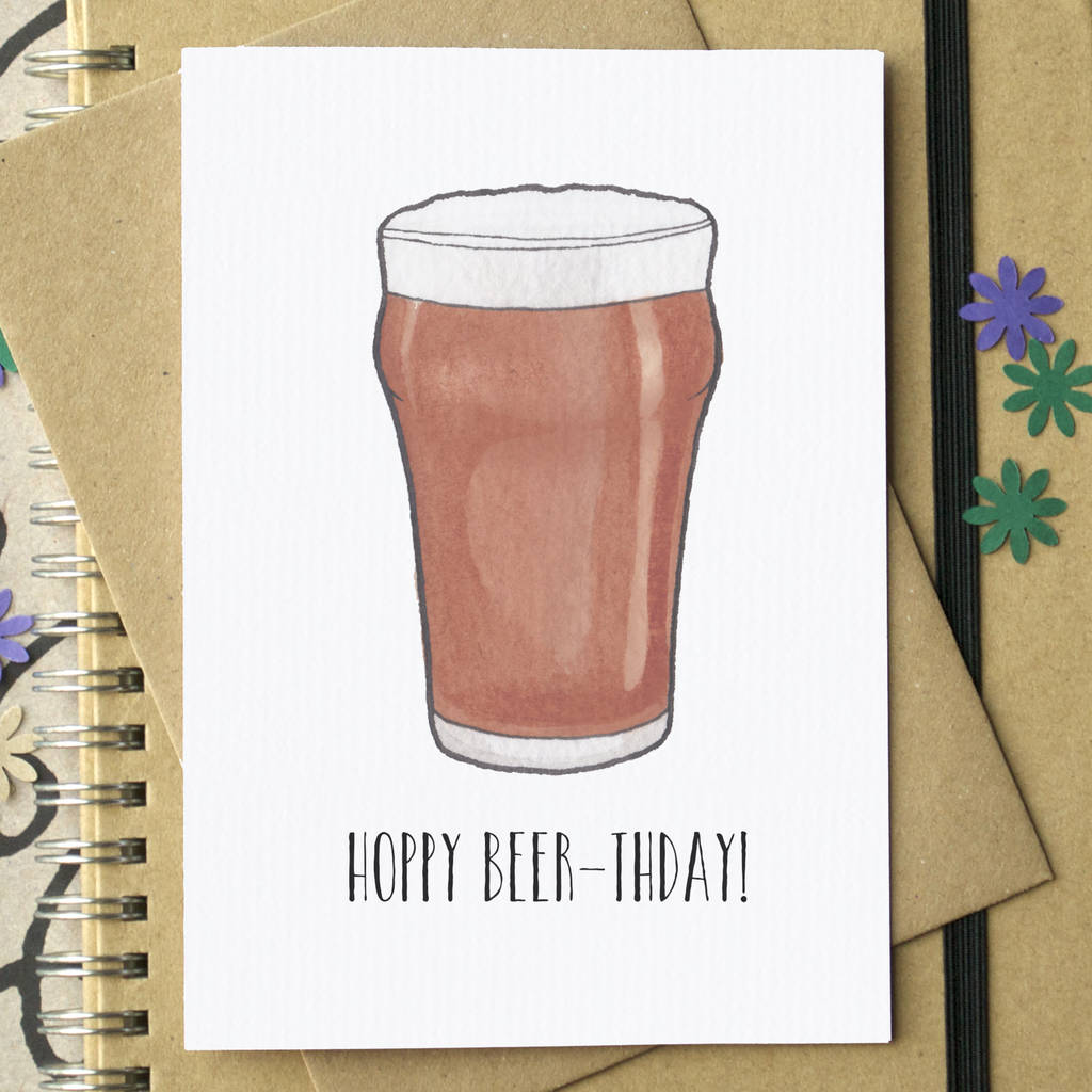 Funny Craft Beer Birthday Card By Becka Griffin Illustration