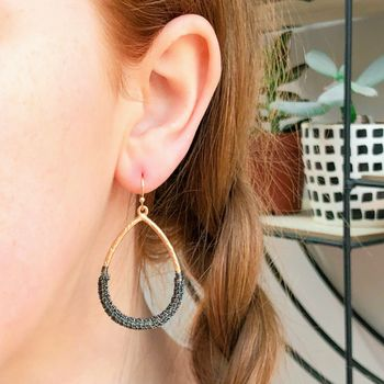 Teardrop Wire Wrapped Statement Earrings