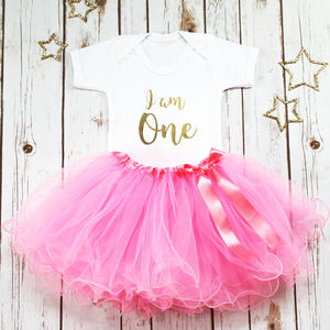 First Birthday I Am One Baby Girl Tutu Outfit - clothing