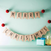 Merry Christmas Bunting With Pom Poms - christmas decorations