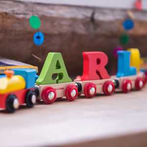 Wooden Name Train - naming day celebration gifts