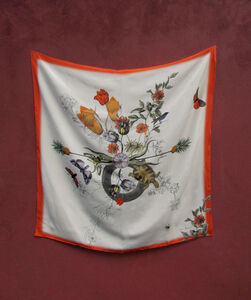 Alice Acreman Silks 'Algonquain' Illustrated Silk Scarf