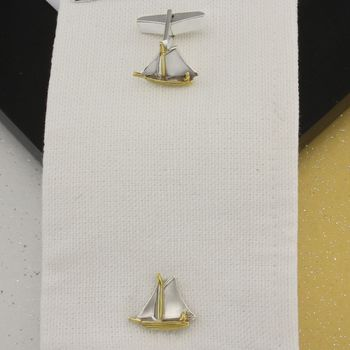 Sailboat Cufflinks In 18 Ct Gold Vermeil