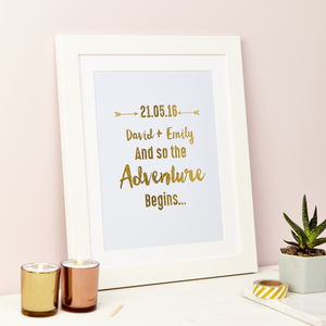 Personalised Adventure Begins Foil Wedding Framed Print