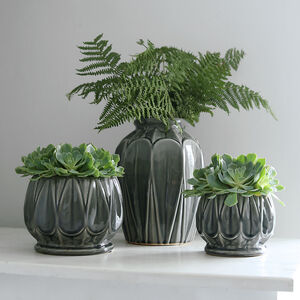 Grey Glazed Deco Pot And Vase Collection