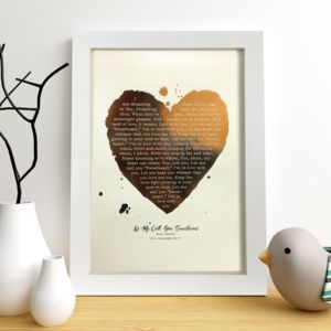 Metallic Personalised Favourite Song Lyrics Heart Print - music