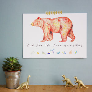 'Bear Necessities' Child's Watercolour Print - pictures & prints for children