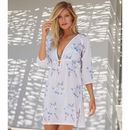 Sardina Cotton Beach Kaftan Silver Rose Print