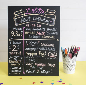 Personalised First Birthday Board - children's room