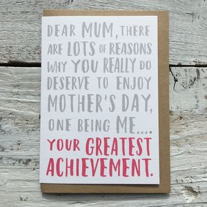 Greatest Achievement Mother's Day Card - funny cards