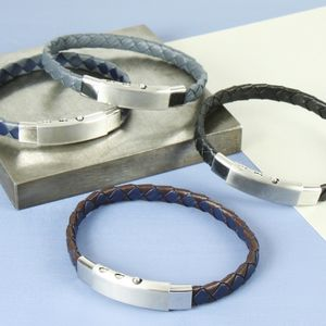 Men's Woven Leather Adjustable Bracelet - bracelets