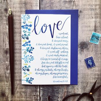 Love Is Patient Love Is Kind Wedding Card