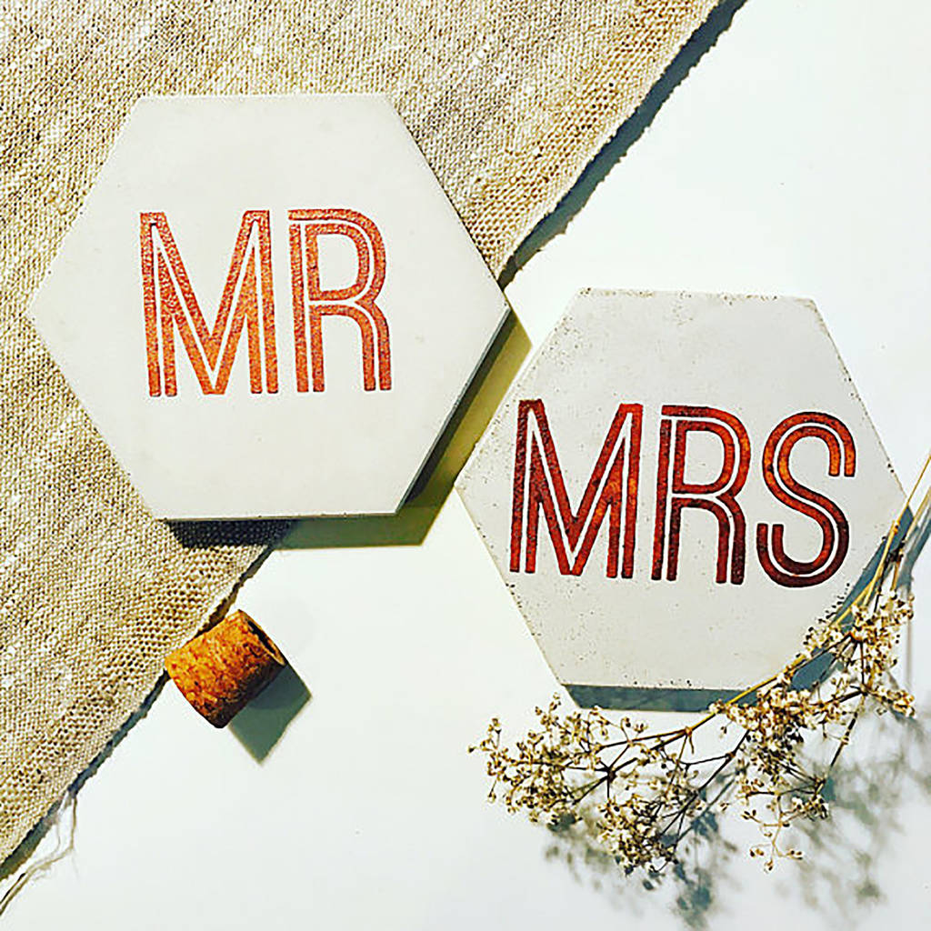 Mr And Mrs Concrete Coaster Metallic Set