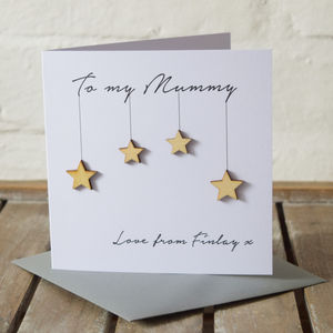 Personalised Wooden Stars Birthday Card - mother's day cards