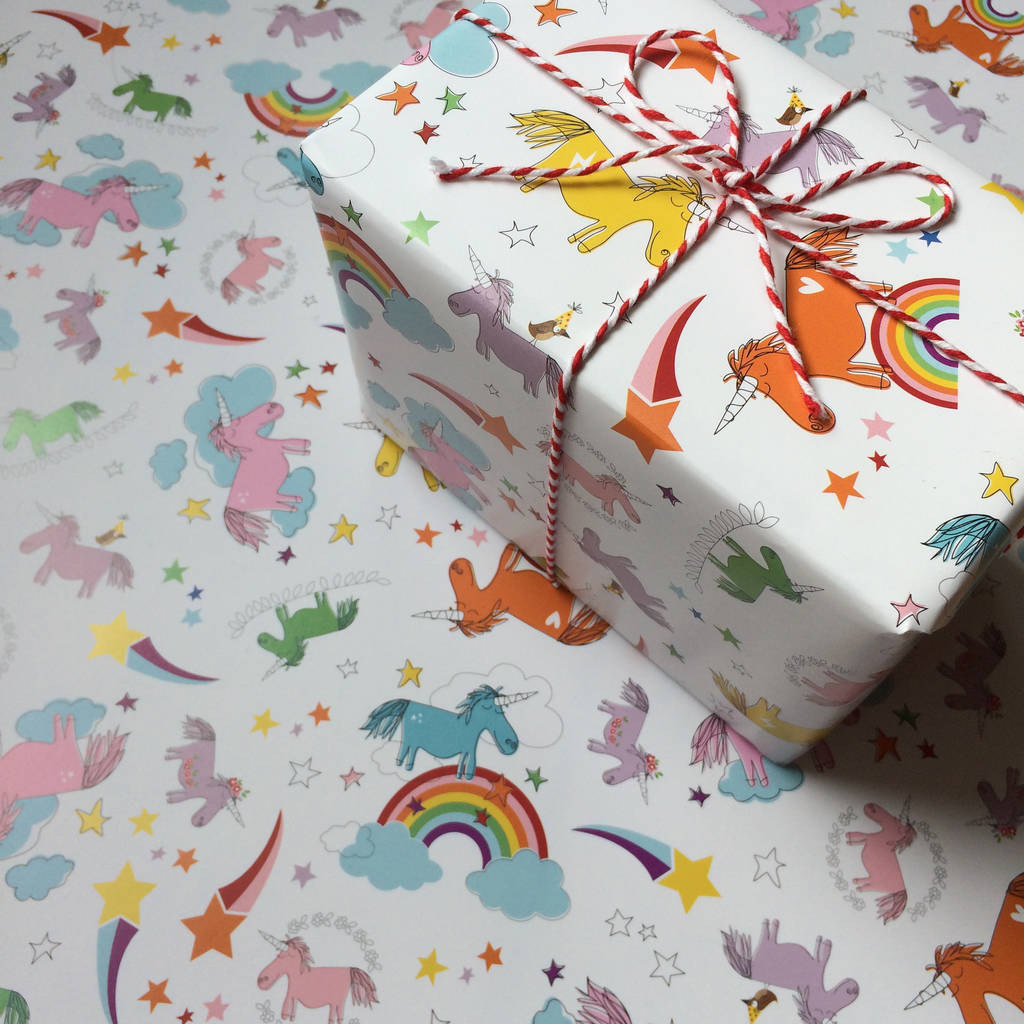 Unicorn Gift Wrapping Paper Or Gift Wrap And Card Set By Half Pint Home Notonthehighstreet Com