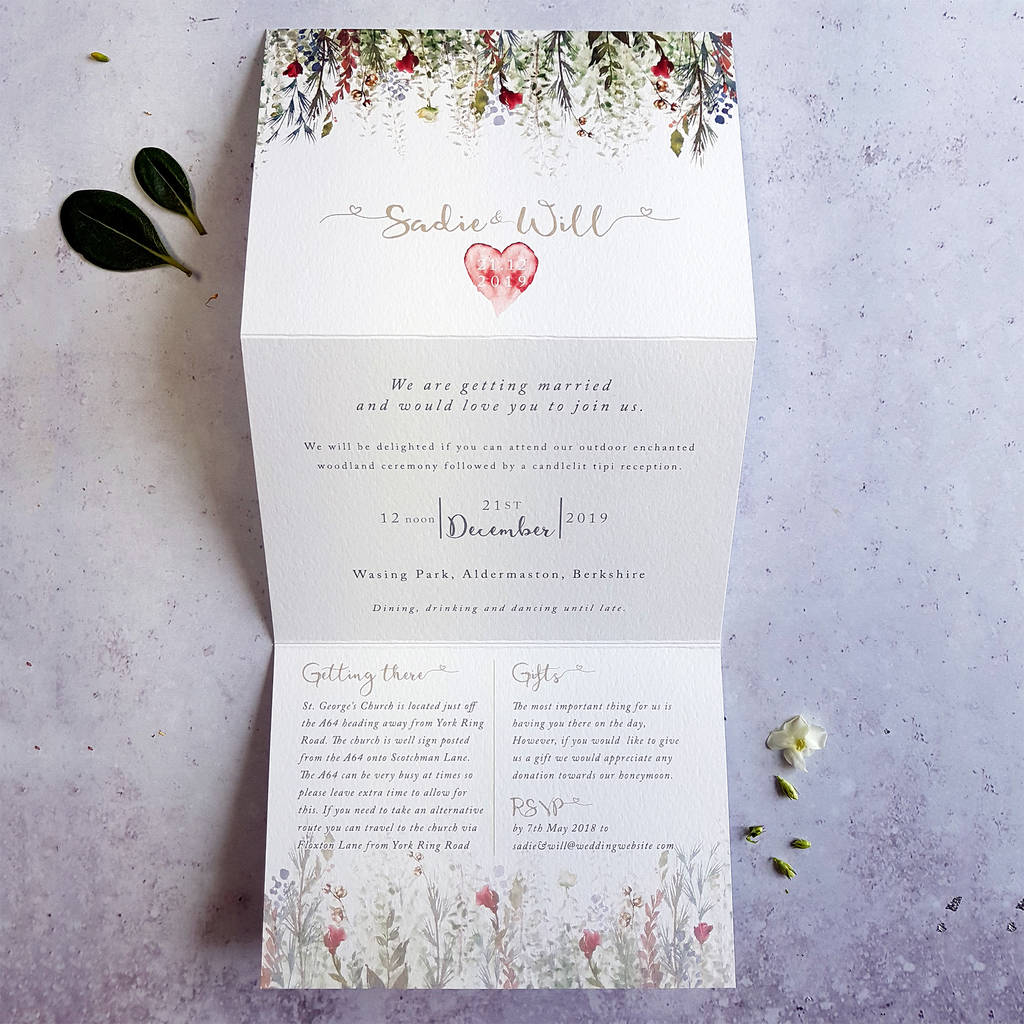 Whimsical Noel Concertina Fold Wedding Invitation By Julia Eastwood