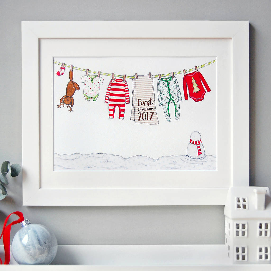 Babys First Christmas Gifts: Personalised Baby's First Christmas Card By Clara And Macy