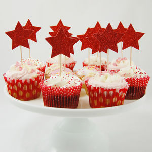 Set Of 12 Glitter Star Cupcake Toppers