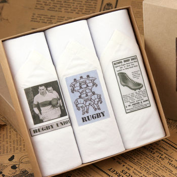Box of Men's Handkerchiefs: Rugby