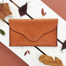 Clutch Bag Leather Vegetable Tanned, Tan/Black