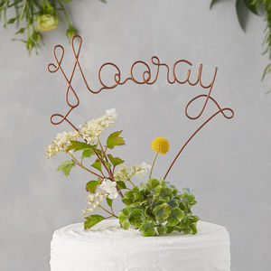 Hooray Wire Wedding Cake Topper