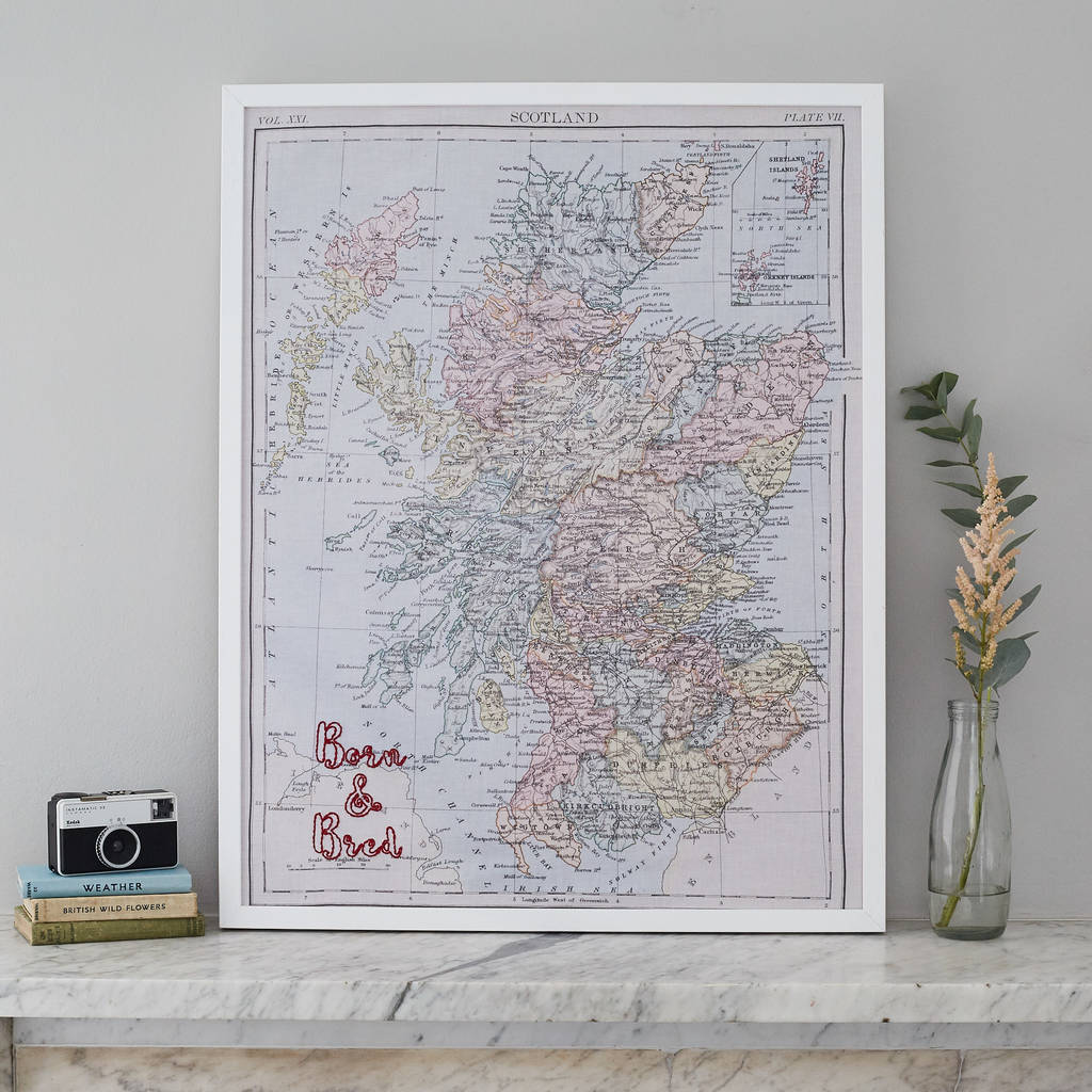 Personalised Scotland Fabric Map Notice Board