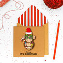 Handmade Fun Festive Monkey Christmas Card Or Pack