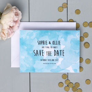 Watercolour Haze Save The Date Card - table decorations