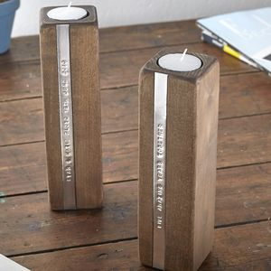 Two Personalised Wooden Tealight Candle Holders - personalised