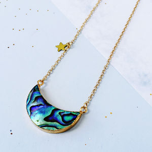 Abalone Cresent Moon Necklace