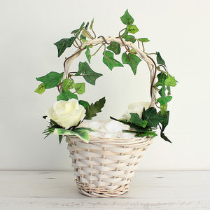 Artificial Ivy And Garden Rose Flower Girl Basket - what's new