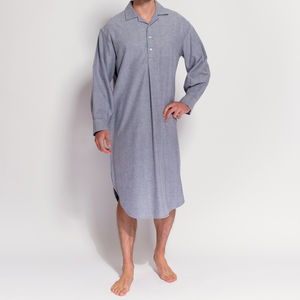Men's Ash Grey Herringbone Flannel Nightshirt - men's fashion