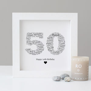 Personalised 50th Birthday Gift Print - dates & special occasions