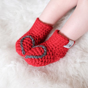 Handmade Baby Booties With Heart Or Snowflake - stocking fillers