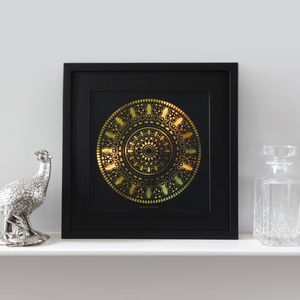 'Insect Mandala' Framed Gold Foil Print - animals & wildlife