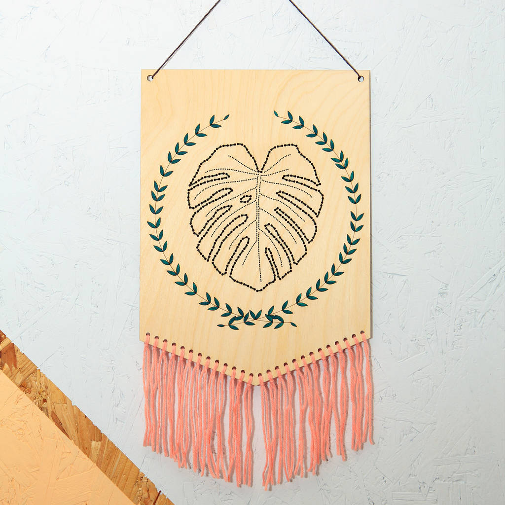 Stitched Monstera Leaf Wall Hanging