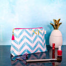 Personalised Blue Chevron 'Weekend Away' Wash Bag