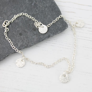 Sterling Silver Textured Circle Ankle Bracelet