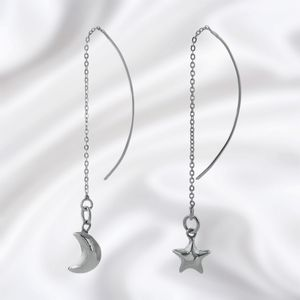 Silver Star And Moon Through The Ear Earrings