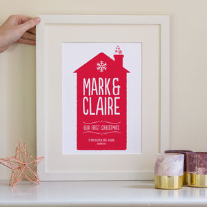 Personalised Christmas Family Home Print